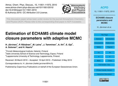 Estimation of Echam5 Climate Model Closu... by Järvinen, H.