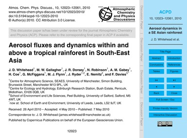 Aerosol Fluxes and Dynamics Within and A... by Whitehead, J. D.
