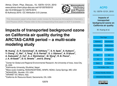 Impacts of Transported Background Ozone ... by Huang, M.