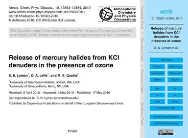 Release of Mercury Halides from Kcl Denu... by Lyman, S. N.