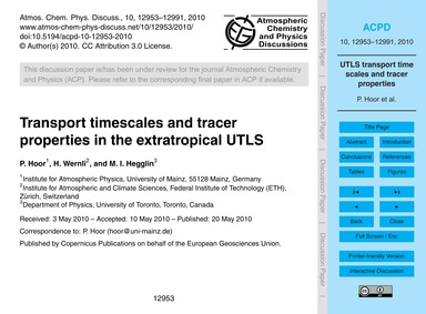 Transport Timescales and Tracer Properti... by Hoor, P.