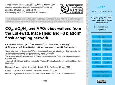Co2, Δo2/N2 and Apo: Observations from t... by Van Der Laan-luijkx, I. T.