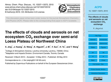The Effects of Clouds and Aerosols on Ne... by Jing, X.