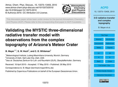 Validating the Mystic Three-dimensional ... by Mayer, B.