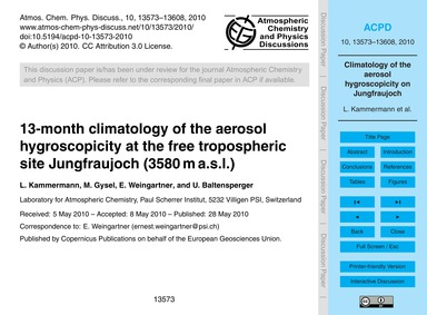 13-month Climatology of the Aerosol Hygr... by Kammermann, L.