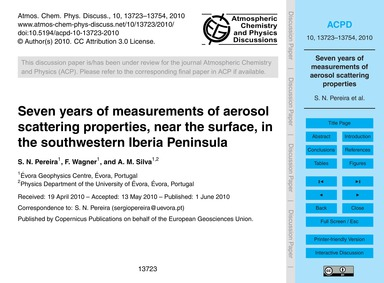 Seven Years of Measurements of Aerosol S... by Pereira, S. N.