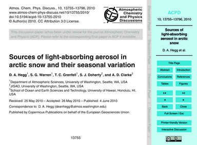 Sources of Light-absorbing Aerosol in Ar... by Hegg, D. A.