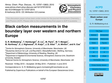Black Carbon Measurements in the Boundar... by McMeeking, G. R.