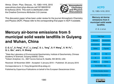 Mercury Air-borne Emissions from 5 Munic... by Li, Z. G.