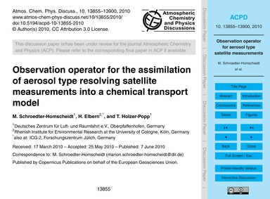 Observation Operator for the Assimilatio... by Schroedter-homscheidt, M.
