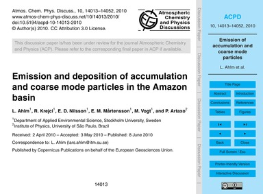 Emission and Deposition of Accumulation ... by Ahlm, L.