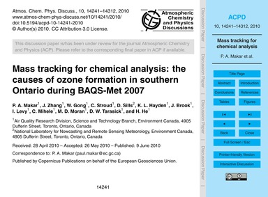 Mass Tracking for Chemical Analysis: the... by Makar, P. A.