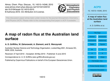 A Map of Radon Flux at the Australian La... by Griffiths, A. D.