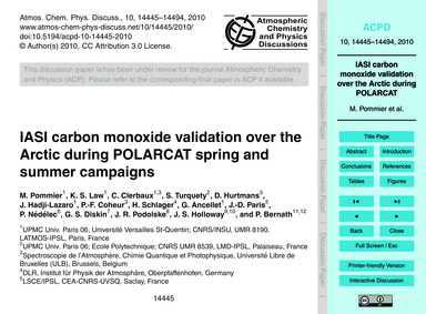 Iasi Carbon Monoxide Validation Over the... by Pommier, M.