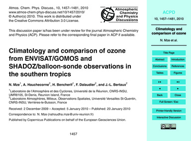 Climatology and Comparison of Ozone from... by Mze, N.