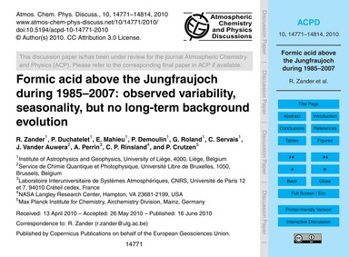 Formic Acid Above the Jungfraujoch Durin... by Zander, R.