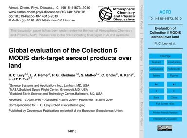 Global Evaluation of the Collection 5 Mo... by Levy, R. C.