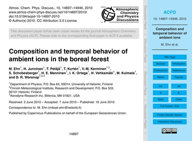 Composition and Temporal Behavior of Amb... by Ehn, M.
