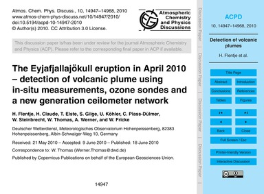 The Eyjafjallajökull Eruption in April 2... by Flentje, H.