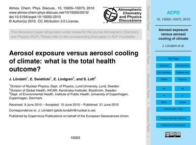 Aerosol Exposure Versus Aerosol Cooling ... by Löndahl, J.