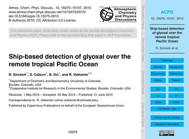 Ship-based Detection of Glyoxal Over the... by Sinreich, R.