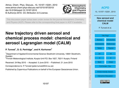 New Trajectory Driven Aerosol and Chemic... by Tunved, P.
