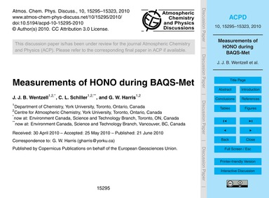 Measurements of Hono During Baqs-met : V... by Wentzell, J. J. B.
