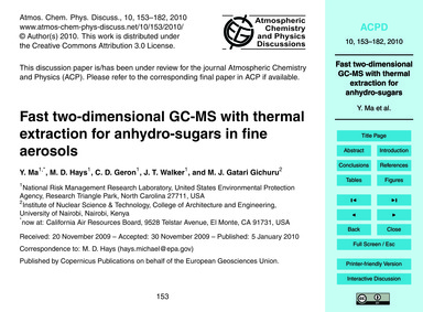 Fast Two-dimensional Gc-ms with Thermal ... by Ma, Y.