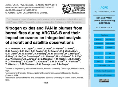 Nitrogen Oxides and Pan in Plumes from B... by Alvarado, M. J.