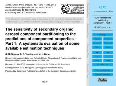 The Sensitivity of Secondary Organic Aer... by McFiggans, G.