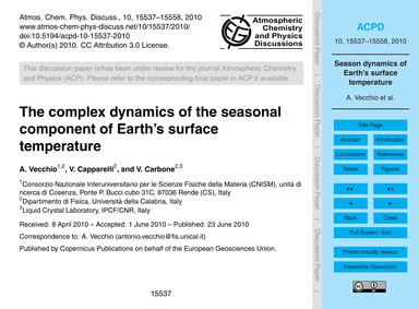The Complex Dynamics of the Seasonal Com... by Vecchio, A.