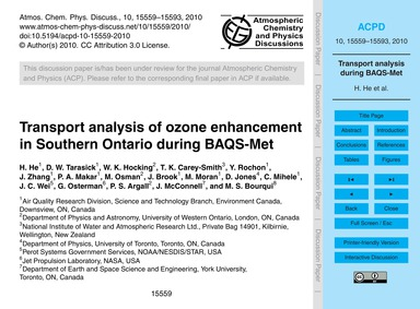Transport Analysis of Ozone Enhancement ... by He, H.