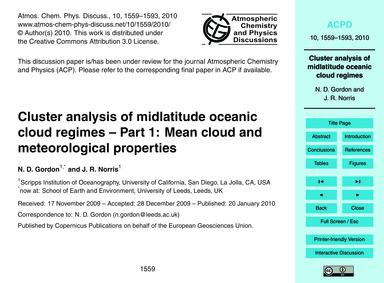 Cluster Analysis of Midlatitude Oceanic ... by Gordon, N. D.