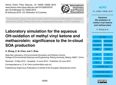 Laboratory Simulation for the Aqueous Oh... by Zhang, X.