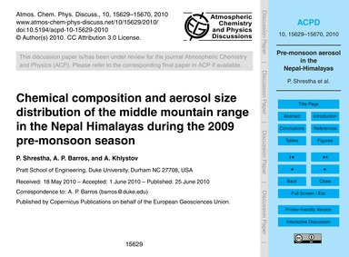Chemical Composition and Aerosol Size Di... by Shrestha, P.