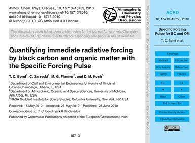 Quantifying Immediate Radiative Forcing ... by Bond, T. C.