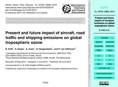 Present and Future Impact of Aircraft, R... by Koffi, B.