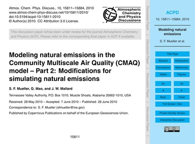 Modeling Natural Emissions in the Commun... by Mueller, S. F.