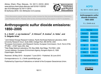 Anthropogenic Sulfur Dioxide Emissions: ... by Smith, S. J.