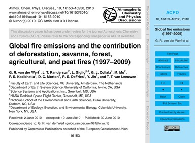 Global Fire Emissions and the Contributi... by Van Der Werf, G. R.