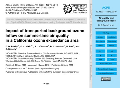 Impact of Transported Background Ozone I... by Parrish, D. D.