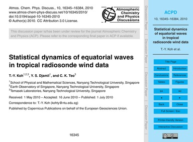Statistical Dynamics of Equatorial Waves... by Koh, T.-y.