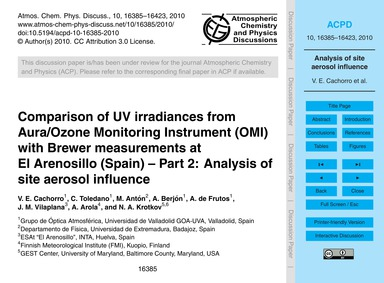 Comparison of Uv Irradiances from Aura/O... by Cachorro, V. E.