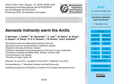 Aerosols Indirectly Warm the Arctic : Vo... by Mauritsen, T.