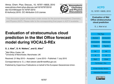 Evaluation of Stratocumulus Cloud Predic... by Abel, S. J.