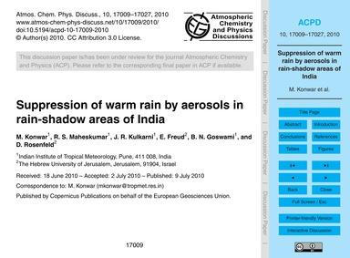 Suppression of Warm Rain by Aerosols in ... by Konwar, M.