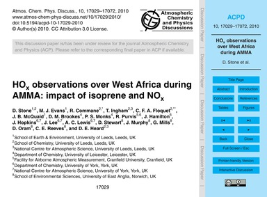 HoX Observations Over West Africa During... by Stone, D.
