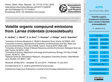 Volatile Organic Compound Emissions from... by Jardine, K.