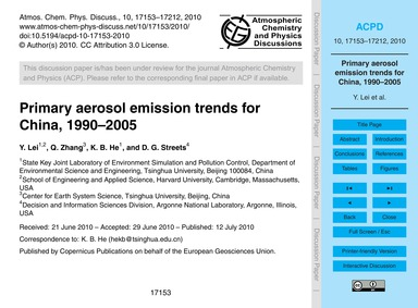 Primary Aerosol Emission Trends for Chin... by Lei, Y.