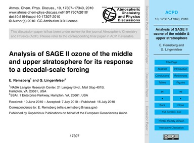 Analysis of Sage II Ozone of the Middle ... by Remsberg, E.